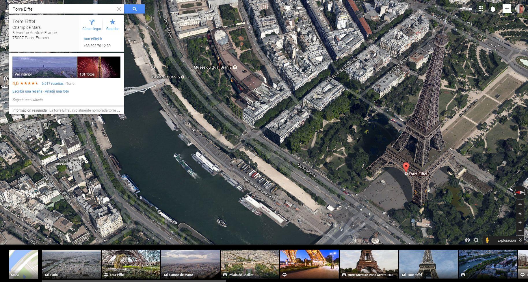 Torre Eiffel   Google Maps